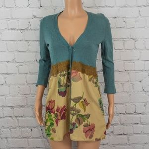 Anthropologie floral teal tunic